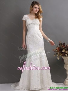 2015 Luxurious Bateau Wedding Dress with Lace and Beading