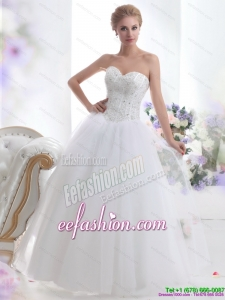 2015 Modest Sweetheart A Line Wedding Dress with Beading