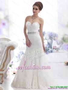 2015 Modest Sweetheart Paillette Wedding Dress with Floor length