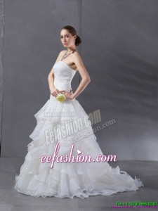 2015 Popular A Line Strapless Beach Wedding Dress with Ruffles