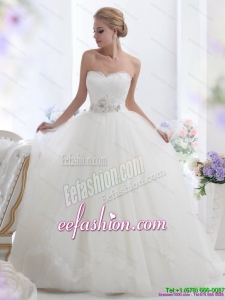 2015 Popular White Sweetheart Wedding Dresses with Hand Made Flowers