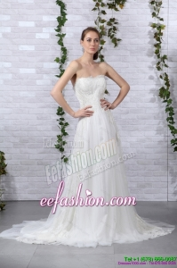 2015 Pretty Ruffled White Strapless Wedding Dresses with Brush Train