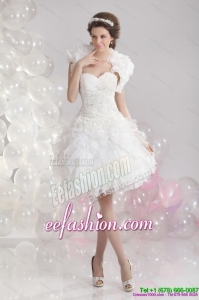 2015 Pretty White Sweetheart Wedding Gowns with Ruffles and Sequins