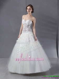 2015 Simple Sweetheart Lace Wedding Dress with Floor length