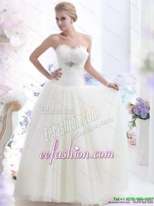 2015 Simple Sweetheart Wedding Dress with Beading
