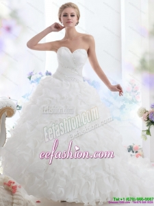 2015 Sweetheart Ruffles and Beading White Gorgeous Wedding Dresses with Brush Train