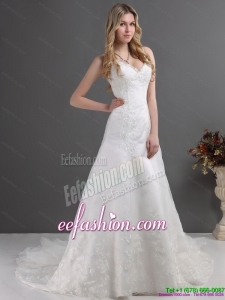 2015 The Most Popular Lace Wedding Dress with Spaghetti Straps
