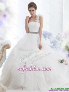 2015 The Super Hot One Shoulder Beach Wedding Dress with Appliques