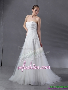 2015 White Strapless Beach Wedding Dresses with Brush Train and Appliques