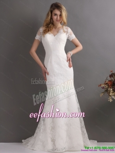 Beach V Neck Lace Wedding Dress with Short Sleeve