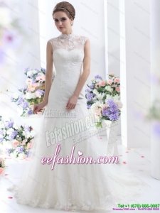 Designer Cute White Laced Wedding Dresses with Brush Train