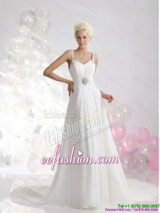Fashionable 2015 Empire Wedding Dress with Ruching and Beading