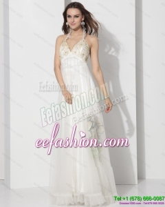 Fashionable Halter Empire Wedding Dress with Appliques for 2015