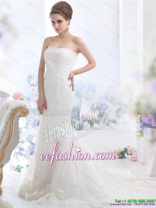 Fashionable Lace White Beach Wedding Dress with Brush Train for 2015