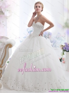 Perfect Ball Gown White 2015 Wedding Dresses with Rhinestones