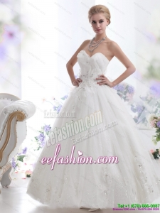 Perfect Beading Sweetheart White Wedding Dresses for 2015