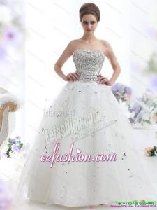 Perfect White Strapless 2015 Beach Wedding Dresses with Rhinestones