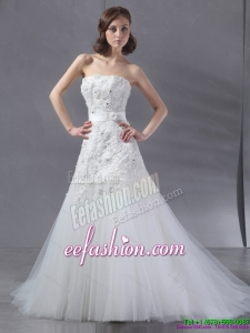 Popular White Strapless Gorgeous Wedding Dresses with Sequins and Brush Train