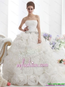 Popular White Strapless Wedding Dresses with Rolling Flowers and Chapel Train