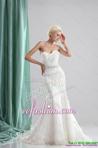 Pretty White Sweetheart Gorgeous Wedding Dresses with Sequins and Brush Train