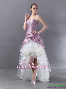 Ruched High Low Beaded Wedding Gowns in White and Lilac