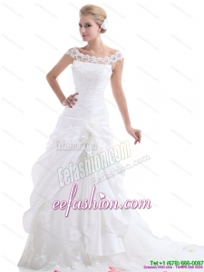 Ruffled White Gorgeous Wedding Dresses with Brush Train and Hand Made Flower