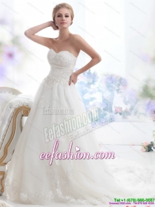 Simple Sweetheart Brush Train Wedding Dress with Beading