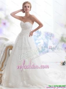 Simple Sweetheart Brush Train Wedding Dress with Beading