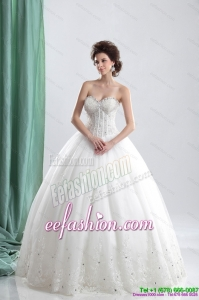 The Super Hot 2015 Sweetheart Wedding Dress with Beading and Lace