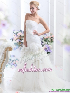 White BrushTrain Strapless Wedding Dresses with Ruching and Hand Made Flowers