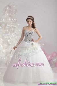 White Floor Length 2015 Unique Wedding Dresses with Rhinestones