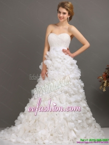 White Sweep Train Ruffled Wedding Dresses with Beading