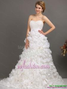 White Sweep Train Ruffled Wedding Dresses with Beading