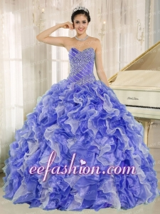 2013 Sweetheart Amazing Quinceanera Dresses with Beading and Ruffles