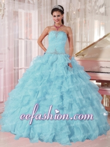 2014 Light Blue Fashion Quinceanera Gowns with Beading and Ruffles