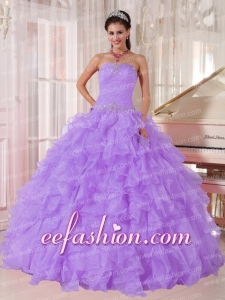 Affordable Ball Gown Strapless In Lavender Organza Beading With Latest Quinceanera Dresses for Party