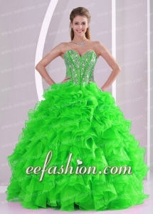 Ball Gown Ruffles and Beading 2013 winter Beautiful Quinceanera Dresses with Lace up