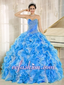 Beaded and Ruffles Custom Made For 2013 Latest Quinceanera Dresses In Blue