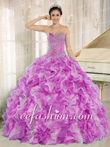 Beaded and Ruffles Lilac and White Beautiful Quinceanera Dresses for Custom Made