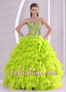 Custom Made Quinceanera Dresses Beading and Ruffles Organza Yellow Green Ball Gown