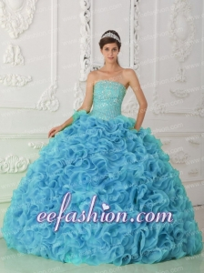 Discount Quinceanera Dresses Beading Ruffles Blue Organza Ball Gown Strapless