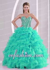 Fall Ball Gown Sweetheart Ruffles and Beaded Decorate Turquoise Quinceanera Dresses 2014