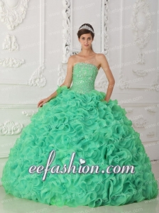Green Strapless Organza New Style Quinceanera Dress with Beading