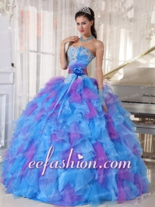 Latest Sweetheart With Appliques and Ruffles Organza Quinceanera Dresses