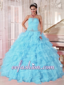 Light Blue Ball Gown Strapless Ruffles Organza Beading New Style Quinceanera Dress