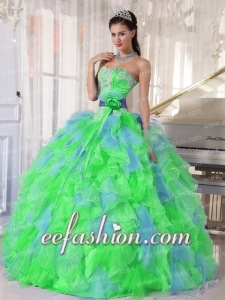 Multi-color Sweetheart Appliques New Style Quinceanera Dress with Green Flower