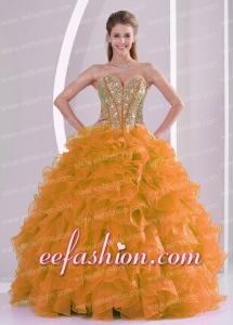 Orange Red Beading Ruffles Sweetheart Organza Ball Gown Custom Made Quinceanera Dresses