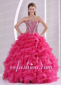Red Ball Gown Sweetheart Ruffles and Beading Long Organza Amazing Quinceanera Dresses