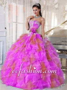 Sweetheart 2014 Ball Gown Beading Appliques Muti-color Discount Quinceanera Dresses Organza