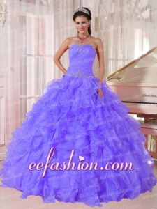 Sweetheart Beading Ball Gown Organza Purple Discount Quinceanera Dresses